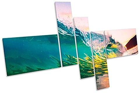 Ocean Beach Wave Sunset Multi Bild auf Leinwand, gerahmt, 225cm wide x 150cm high
