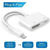 Adaptador de vídeo digital con conector para iPhone 8, 7, 6, 5, iPad Air, Mini, Pro, adaptador HDTV, compatible con iOS 10.3 hasta iOS 11, color blanco