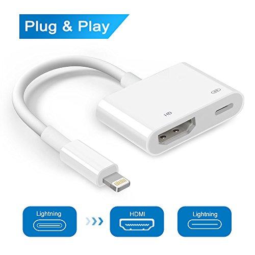 Blitz zu HDMI Adapter Kabel, Blitz Digital AV zu HDMI 1080P Konverter Adapter für iPhone X / 8/7/6/5 Serie, iPad Air / Mini / Pro (Unterstützung IOS 10,3 bis IOS 11x, Weiblicher Lightning Port muss angeschlossen werden) (- Digital-av-adapter Für Ipad Luft 2)