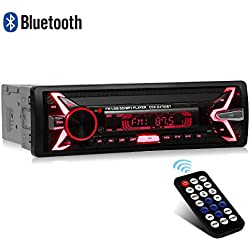 WesKimed Autoradio Bluetooth, 1 Din Radio de Voiture Audio, 7 Couleurs Stereo FM Radio 4x60W Poste Radio Voiture Soutien Bluetooth/USB/SD/AUX/EQ / MP3 / TF + Télécommande (Panneau détachable)
