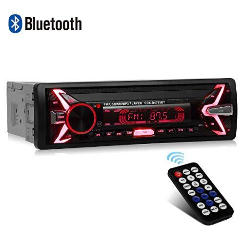 Autoradio Bluetooth Coche WesKimed 7 Retroiluminación en Color Coche Stereo Auto Radio Universal para automóvil Receptor estéreo 1 DIN Bluetooth USB/SD/AUX/FM Control Remoto,Panel Desmontable