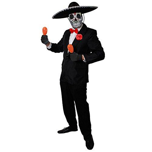 ILOVEFANCYDRESS Deluxe Day of The Death=Orange MARRACAS+Sombrero+Sugar Skull MASLE =Tag der Toten KOSTÜM Verkleidung=Halloween= Medium (Halloween-kostüm Skull Sugar Für Paare)