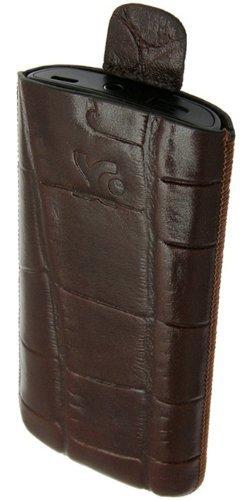 Suncase Tasche / Samsung Wave S8500 / Leder Handytasche Ledertasche *Speziell - Lasche mit Rueckzugfunktion* Croco-Braun