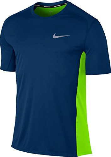 NIKE Miler M NK Dry Top SS BINARY BLUE/ELECTRIC GREEN