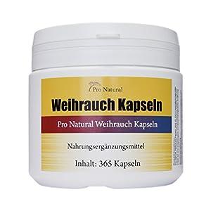Weihrauch Kapseln hochdosiert 450mg – 365 Kapseln (vegetarisch), Boswellia von Pro Natural