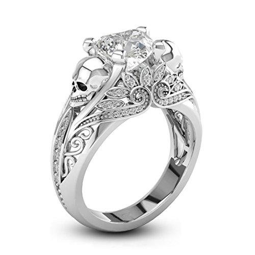 Zirkonia Ringe für Mädchen Skull Ring Coole Frauen Gothic Zubehör Weißgold Lotus Band (Schwimmen Sie Schneiden Ein Stück)