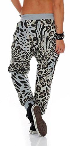 malito Damen Sweatpants im Leo Design | Sporthose mit Reißverschluss | Baggy zum Tanzen | Jogginghose �?3344 Hellgrau