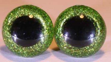 Seguridad Ojos XL purpurina verde claro, seguridad Ojos 30mm Purpurina verde claro, Teddy Ojos 30mm