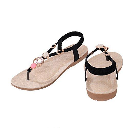 Vertvie Damen Sommer Schuhe Strandschuhe Offene T-Spangen Sandalen Knöchelriemchen Sandalen mit Strass Zehentrenner Flip Flop Hausschuhe (36, Beige 1)