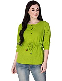 SCION Women's Beautiful Designer Green Cotton slub top for Women