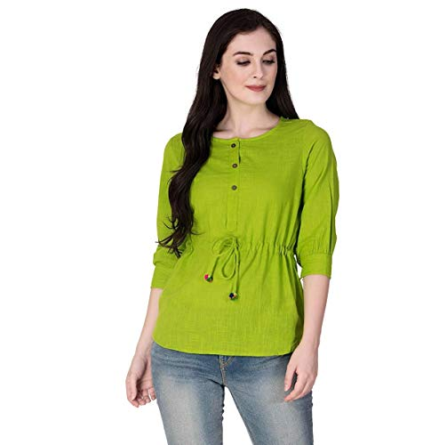 SCION Women's Beautiful Designer Green Cotton slub top for Women (Medium)