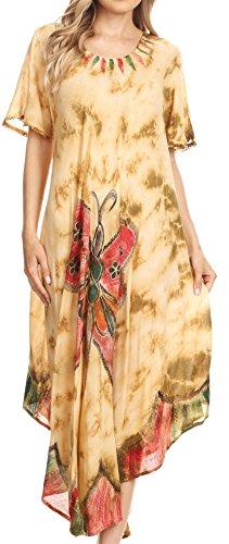 Tie Kostüm Dye Kleid - Sakkas 17256 - Nalani Damen Flowy Kaftan Tie Dye Sommerkleid vertuschen Relax Fit - Beige - OS