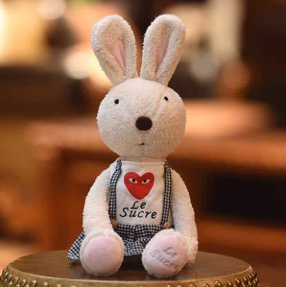 HULIN Cute Rabbit Doll Plush Toy Bunny Doll Baby Comfort Doll Couple Rabbit Girl Birthday Gift White Plaid Strap Skirt 60 cm - Plaid Strap