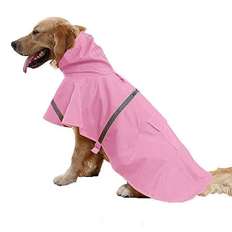 Kimfoxes Reflective Dog Raincoat Waterproof Dog Coat Jacket, Chest Protector Pet Rain Coats for Large and Medium Size Dog- Pink(Size: