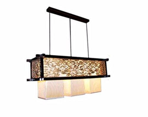 ZHGI Rustico moderno lampadario di legno pelle vintage lampade lampadario minimalista ristorante hotel si accende,tre