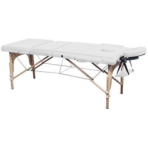 Massage Liege in 4 Farben - 3-Zonen Therapie Massagetisch Holz - 70 cm Breite - Höhenverstellbar (Armlehne + Kopfstütze) Massageliege klappbar transportabel (weiß)
