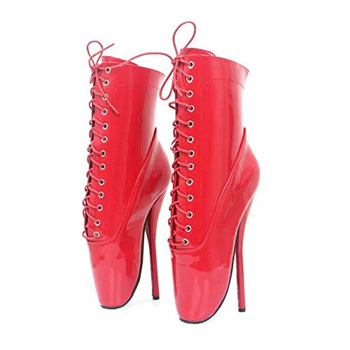 COSY-L Women's Sexy High Heel Platform Ankle Bootie Lace Up Verschluss Schnalle Pumps SM Ballettkönigin Stiefel Unisex,Red,45EU/14US