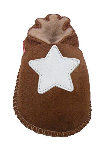 Plateau Tibet - ECHT Lammfell Baby Kinder Schuhe Babyschuhe - Stern weiß, Braun (Chestnut), Gr. 22-23 -