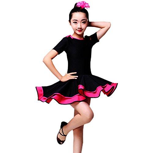 KINDOYO Mädchen Kinder Tanz Kleidung Doppel Saum Latein -