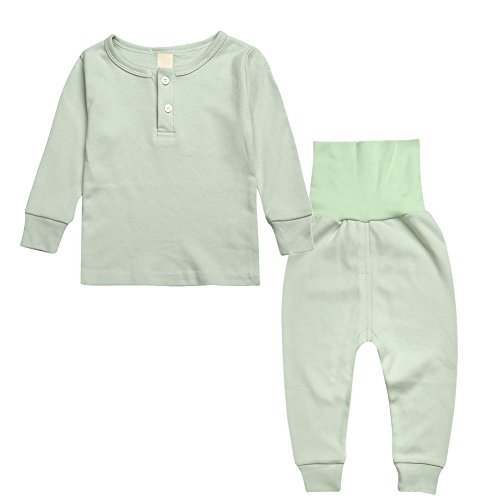 CHIC-CHIC Ensemble de Pyjama Fille Garçon Bébé Manches Longues Deux-Pièces Vêtement de Nuit Pantalons Haut Top T-shirt 4-5ans Vert