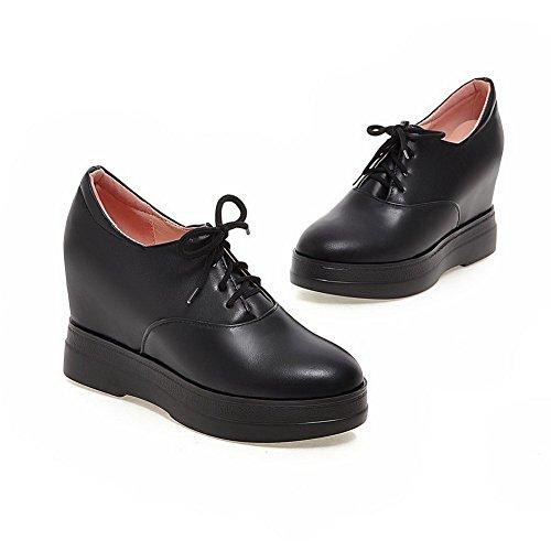 Adee solide en polyuréthane pour femme à lacets Pompes Chaussures Noir - noir