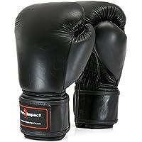 Cuero genuino guantes de boxeo negro 16 onza. Pro ($80 valor) impacto