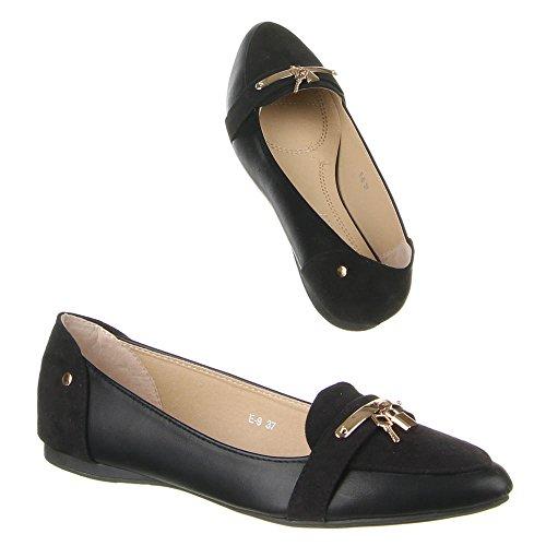 Damen Schuhe, E-9, BALLERINAS Schwarz