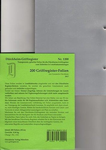 GRIFFREGISTER-Folien, 200 transparente Folien zum Einheften und Unterteilen der Beck'schen Gesetzessammlungen mit Dürckheim oder eigenen Griffregistern. Ohne versteckte Versandkosten