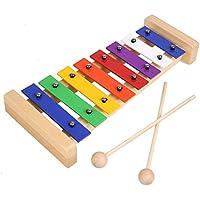 MVPOWER Xilófono Juguete de Madera de pino para Bebe y Niño de Instrumento Musical con 8 Nota Metal, Percusión Educativo de Desarrollo como Regalo Perfecto