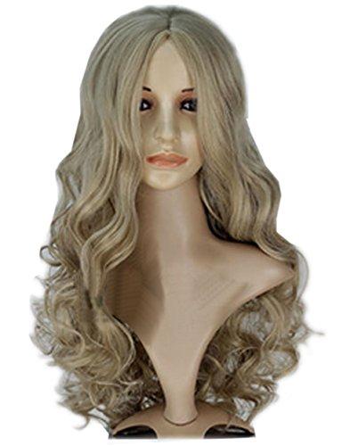 Halloween Kostüm Princess Cinderella Cosplay Perücke Wig Langes Lockiges Ash Blond Haar Zubehör für Dame Girls