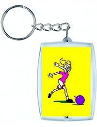 """'Porte-clés """"de football Cartoon Fille de Bonne Santé actif de fitness Fit de Sport de la Boule de kick en noir/blanc/bleu/rose/jaune/rouge/vert   Caddie–Sac Remorque–Sac à dos–Porte-clés, jaune"""