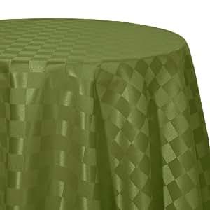 Ernst Schäfer Karo 416907439 Nappe ovale damassée avec protection anti-tâche et motif en damier Vert 160 x 220 cm