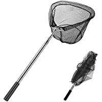 "ZINUO Fishing Net, Angling Landing Nets Fishing Folding Landing Net, Light and Sturdy Stainless Steel Handle Tangle Proof Net, Full Length: 39""~69"" Adjustable"