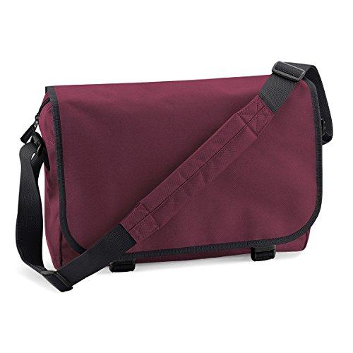 BagBase Borsa a Spalla Messenger Unisex bag 38x30x12cm 11L Kelly Green Burgundy