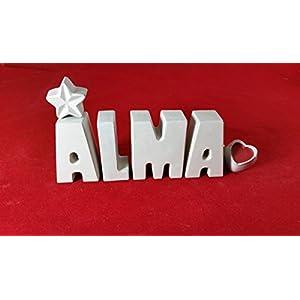 Beton, Steinguss Buchstaben 3D Deko Namen ALMA als Geschenk verpackt!
