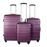 BTM Set of 3 Light Weight Hardshell 4 wheel Travel Trolley Suitcase Luggage Set