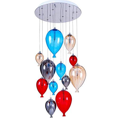 Paris Prix - Lampe Suspension Verre 12 Têtes Balloon 45cm Multicolore