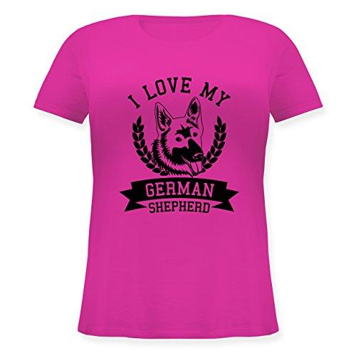 Shirtracer Hunde - I Love My German Shepherd - Lockeres Damen-Shirt in Großen Größen mit Rundhalsausschnitt Fuchsia