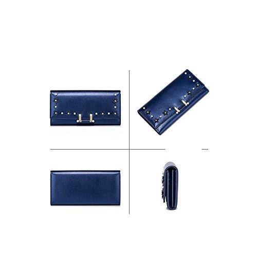 Yvonnelee Donne Della Signora Lungo Della Borse Borsa cuoio genuino Della Carta Portafoglio Leather Titolare Blu