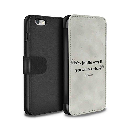 STUFF4 PU-Leder Hülle/Case/Tasche/Cover für Apple iPhone 6S / William Shakespeare Muster / Berühmte Zitate Kollektion Steve Jobs