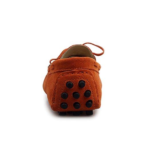 Minitoo femmes Chaussettes à orteils arrondis en métal fin de conduite de bateaux Loafers en daim plates pour chaussures Orange - Orange