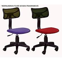 Silla estudio Natalia, escritorio, oficina, regulable, ruedas, giratoria, 3D negro asiento rojo o lila (Negro asiento lila)