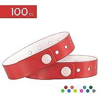 ouchan 100pcs l-sharped clubking Ltd–Pulseras para eventos tres capas y resistente al agua, rojo
