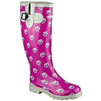 Cotswold Ladies Collection Dog Paw Welly Purple Silver