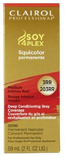 Clairol Colorant permanent Soy4Plex Liquicolor - Couverture du gris à 100% - Rouge intense moyen 203RR - 59 ml