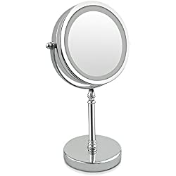 Lighted Makeup Mirror,NOTENS Double-Sided 1x/10x Magnifying 18 LED Lights 360 Rotation 7 Inch Illuminated Make Up Vanity Mirror with lights Round Shaped Stainless Steel Polished Chrome Finish