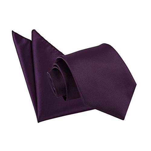 new-dqt-solid-check-cadbury-purple-mens-tie-and-hanky-set