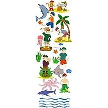 PLAGE 152530 Adhesivos de decoración para niños -Pirata, 1 Lámina, 24 x 68 cm
