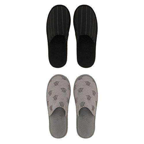Ozabi Pantoufles Homme Lot DE 2 Gris/Noir