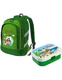 Preisvergleich für Mein Zwergenland Set 1 Kinderrucksack Bicolor und Brotdose Mepal mit Bento Box und Gabel mit Namen, 2-teilig